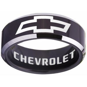 Chevrolet Logo Ring - Black and Silver Ring